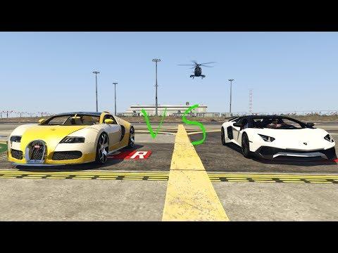 Bugatti veyron vs lamborghini aventador (GTA 5) drag race