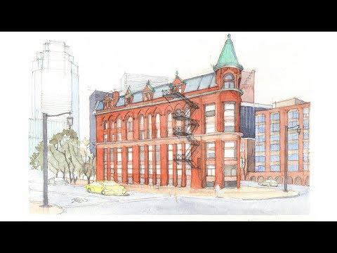 Watercolor Study of the Gooderham (Flatiron) Building in Toronto