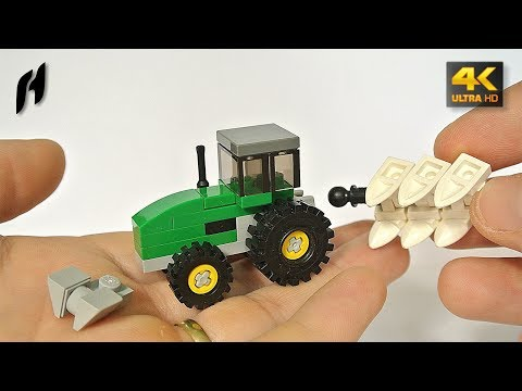 How to Build a Lego John Deere Tractor with Reversible Plow (MOC - 4K)