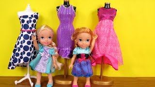 SHOPPING ! Elsa and Anna toddlers at Clothing Store - Dresses - Shoes - Purses