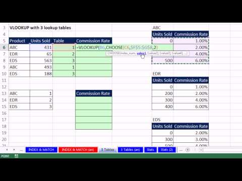 Highline Excel 2013 Class Video 22: CHOOSE function to lookup table for VLOOKUP With Multiple Tables
