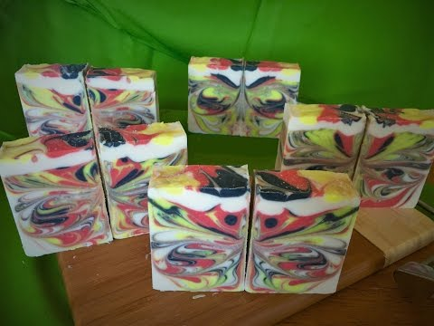 Making & Cutting Sangria Butterfly Swirl CP Soap | The Soaping Owl