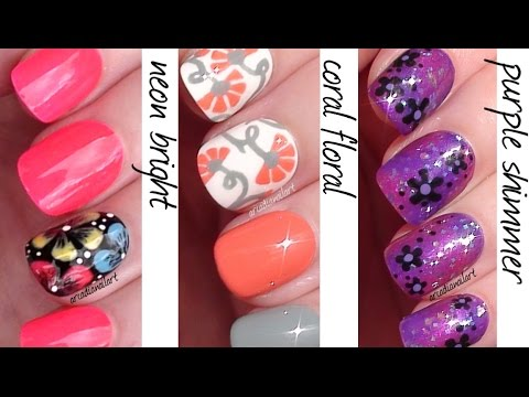 Easy Flower Nails! Nail Art for Beginners | ArcadiaNailArt