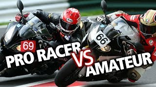 How much faster is a professional motorcycle racer?