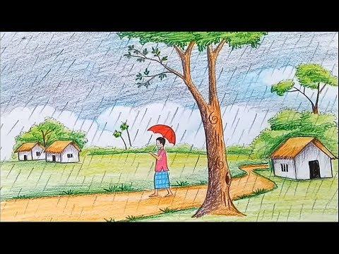 How To Draw Scenery Of Rainy Season Step By Step