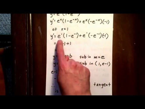 4 exponential function: equation of a tangent line using product rule