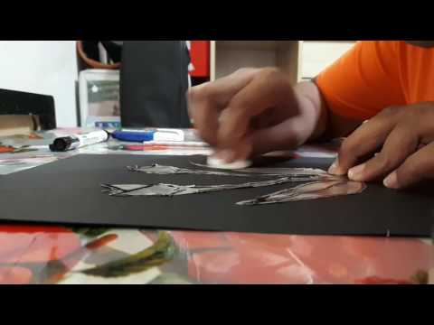 Making foil art with aluminum foil (wall art)