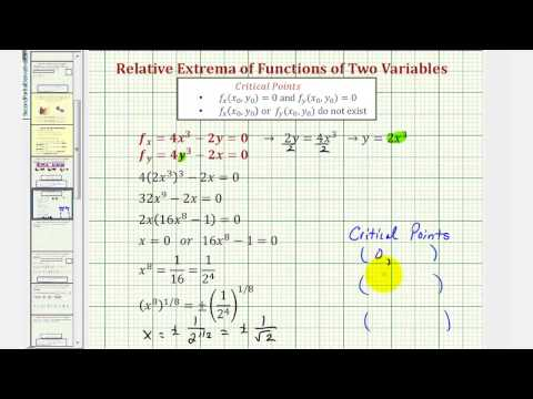 Ex: Determine Relative Extrema for a Function of Two Variables