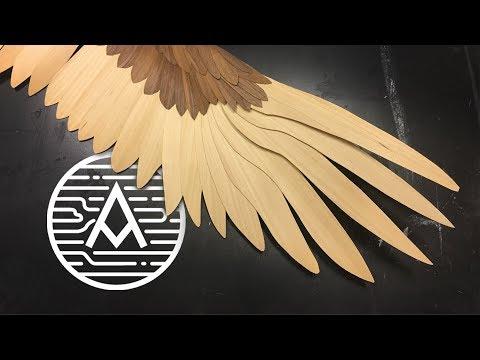 Wood Veneer Golden Eagle Wing -- Sculpture