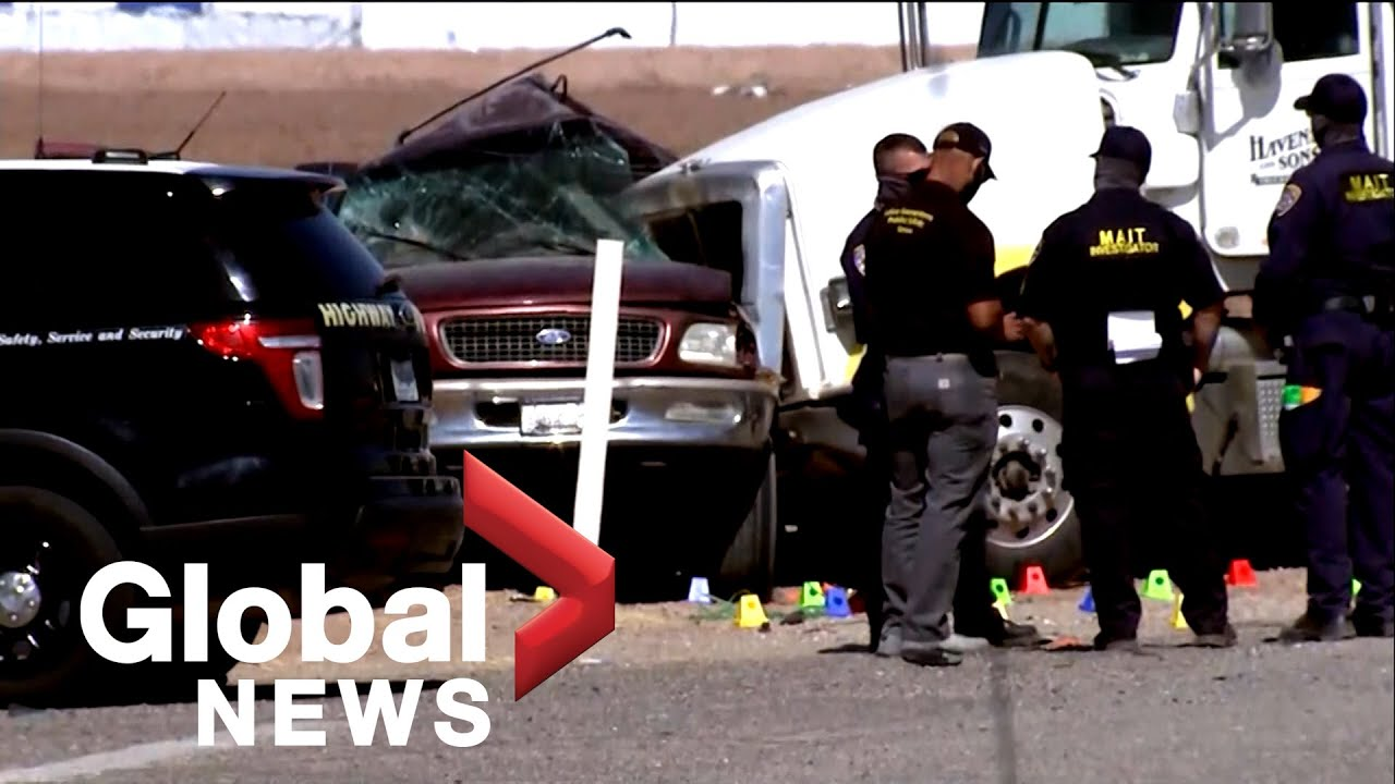 SUV carrying 27 people collides with truck hauling gravel in southern California, at least 15 killed