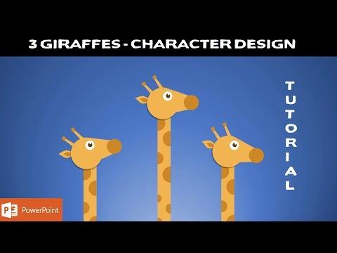 3 Giraffes | Character Design Video | PowerPoint 2016 Tutorial | The Teacher