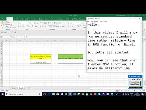 Excel: Get standard time rather military time with NOW function