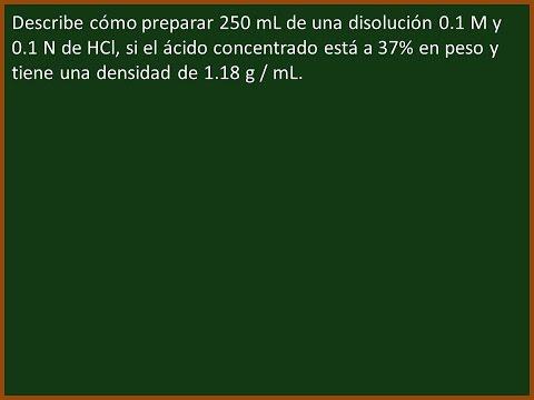 Preparación de una disolución 0.1M y 0.1N de HCl
