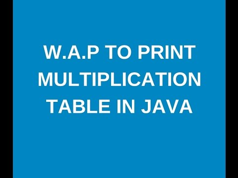 Write a java program to print multiplication table?