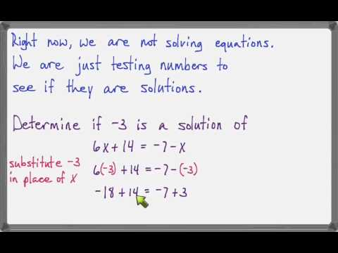 Determine if a number is a solution of an equation