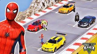 Desafio com CARROS Homem Aranha e Heróis! Pista de Saltos na Montanha Ep #63 - GTA V - IR GAMES