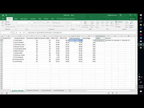 How to grade, rank and give Remarks in Excel