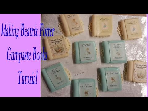 Making Beatrix's Potter Books Cupcake Toppers fondant gumpaste