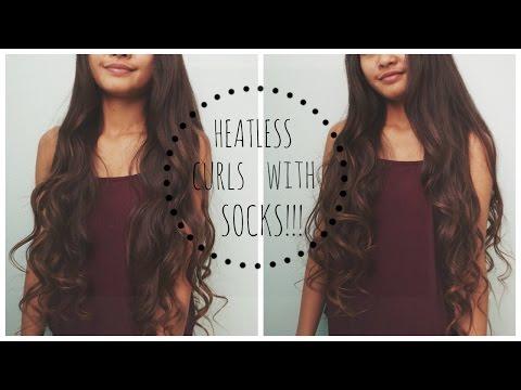 HEATLESS Overnight Curls using Socks/sock buns!!!