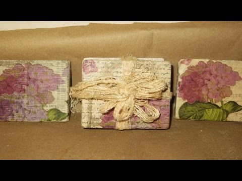 DIY Decoupage Romantic Coasters Hydrangeas