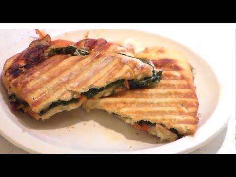 How to make panini sandwich with mozzarella tomatos basil