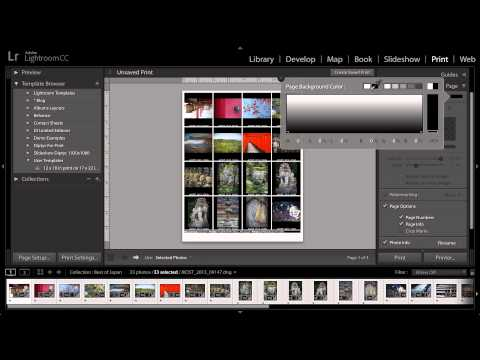 Lightroom CC -  Printing a Contact Sheet of Photographs