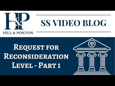 SS Request for Reconsideration Level - Part 1
