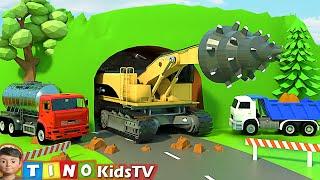 Roadheader & Construction Trucks for Kids | Mountain Tunnel Construction for Children