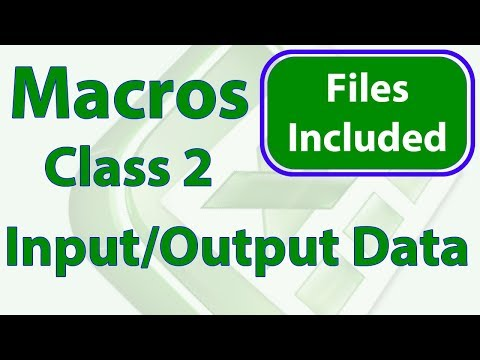 Excel Macros Class 2 - Getting and Outputting Data - Workbook Included