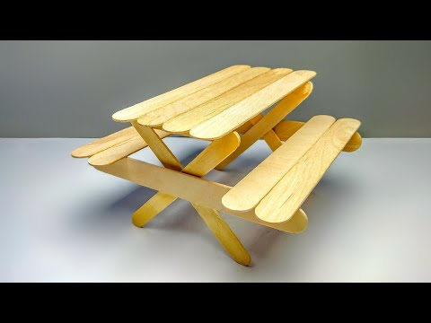 How To Make A Picnic Table And Bench Out Of Popsicle Stick