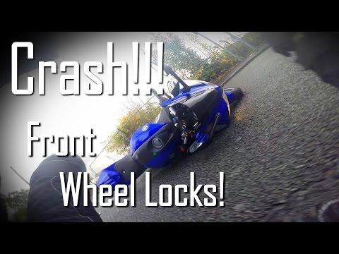 Yamaha R125 Motorbike CRASH!! | Front Wheel Locks Up!