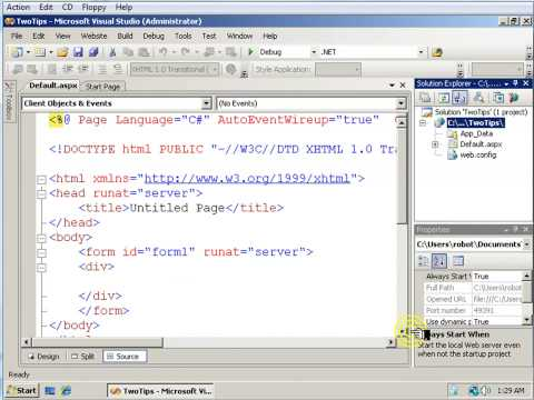 Two Visual Studio 2008 Tips ASP.NET Tutorial