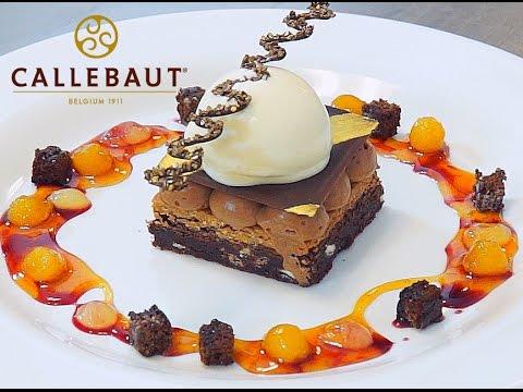 Chef Peter Joyner creates a chocolate brownie with Arriba milk chocolate mousse