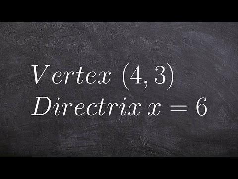 How to write the equation of a parabola in conic sections given vertex and directrix