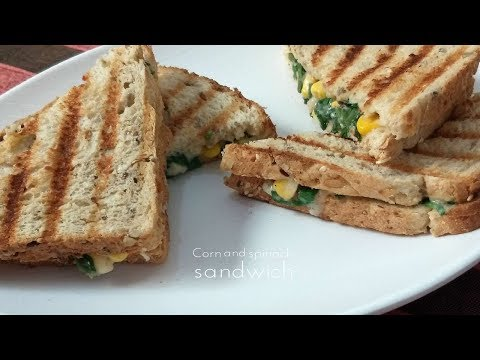 Corn And Spinach Sandwich With Oats White Sauce   Healthy Breakfast Recipe