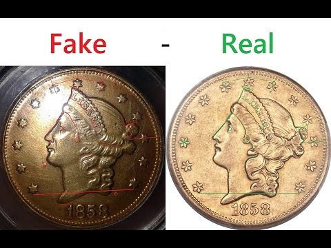Fake $20 Gold Coins with Stolen PCGS Certification Numbers - 1858-S & 1857-S Double Eagle Coins
