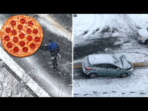 Nor'Easter Didn't Stop Pizza Delivery Man From Doing His Job
