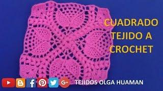 Cuadrado O Muestra A Crochet En Punto Hojitas En Relieves Para
