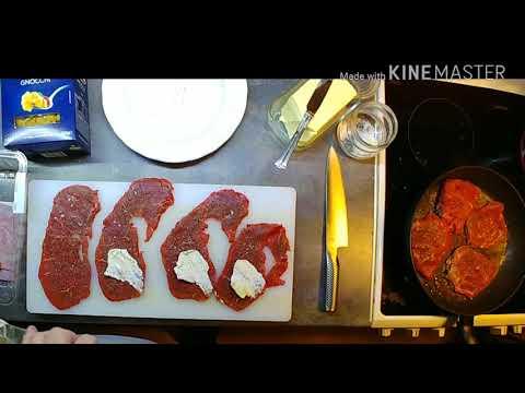 Thin steak with mushrooms and garlic