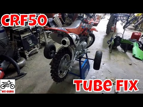 Honda CRF50 Rear Tube Change ~Wheel Removal and Reinstall