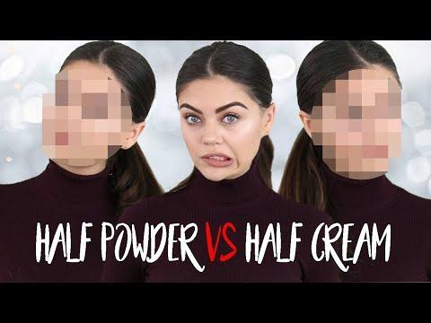 HALF POWDER MAKEUP VS HALF CREAM MAKEUP! FULL FACE TESTING!!