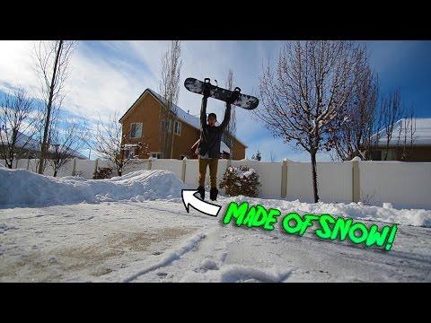 BACKYARD SNOWBOARD JUMP!!!