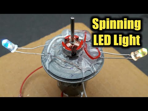 How To Make A Spinning LED Light Using 2 DC Motor