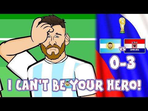 😲0-3 ARGENTINA vs CROATIA!😲 Messi Can't Be Argentina's Hero! (Caballero Kick Parody  Highlights)