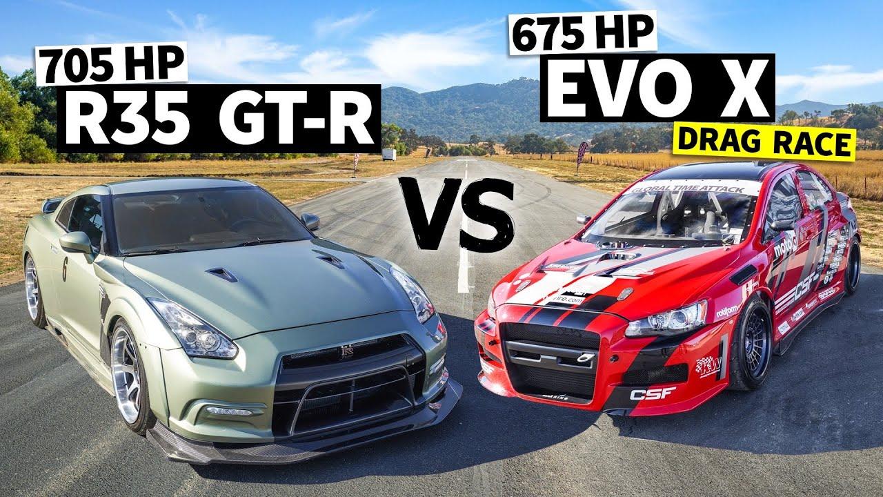 New School AWD Battle: Dustin Williams' 700hp GTR vs. 675hp Evo X // This vs. That