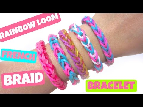 Rainbow Loom Bracelet French Braid without Loom/ using 2 Pencils
