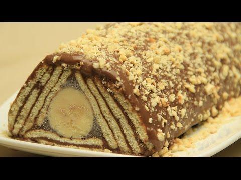 Chocolate Biscuit Cake - No Bake Turkish Banana Pudding Cake