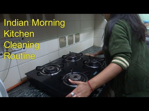 Morning kitchen Cleaning Routine|| Daily Indian kitchen Cleaning.How to clean kitchen 2018
