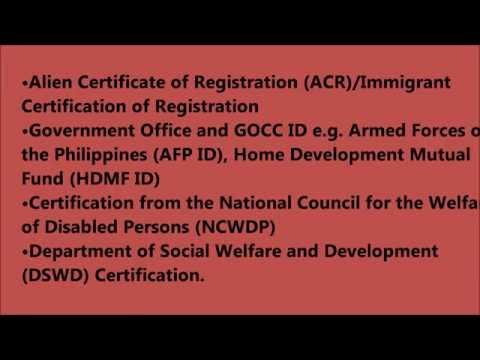 Philippines List of Valid Identification Card