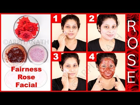 Fairness Rose Glow Facial At Home to Get Rosy Pinkish White Glowing Skin || Demonstration